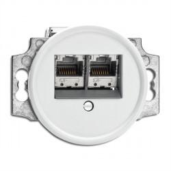 Prise RJ45 double en duroplast vendue sans son cache (encastrable) - THPG