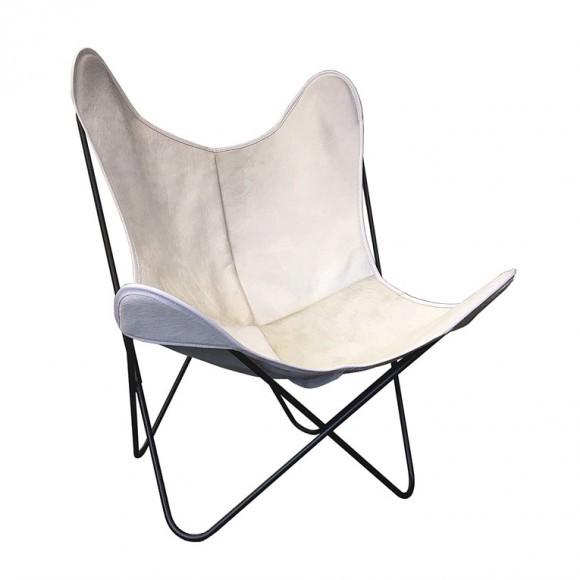 fauteuil indoor aa butterfly cuir peau de vache blanche. Black Bedroom Furniture Sets. Home Design Ideas