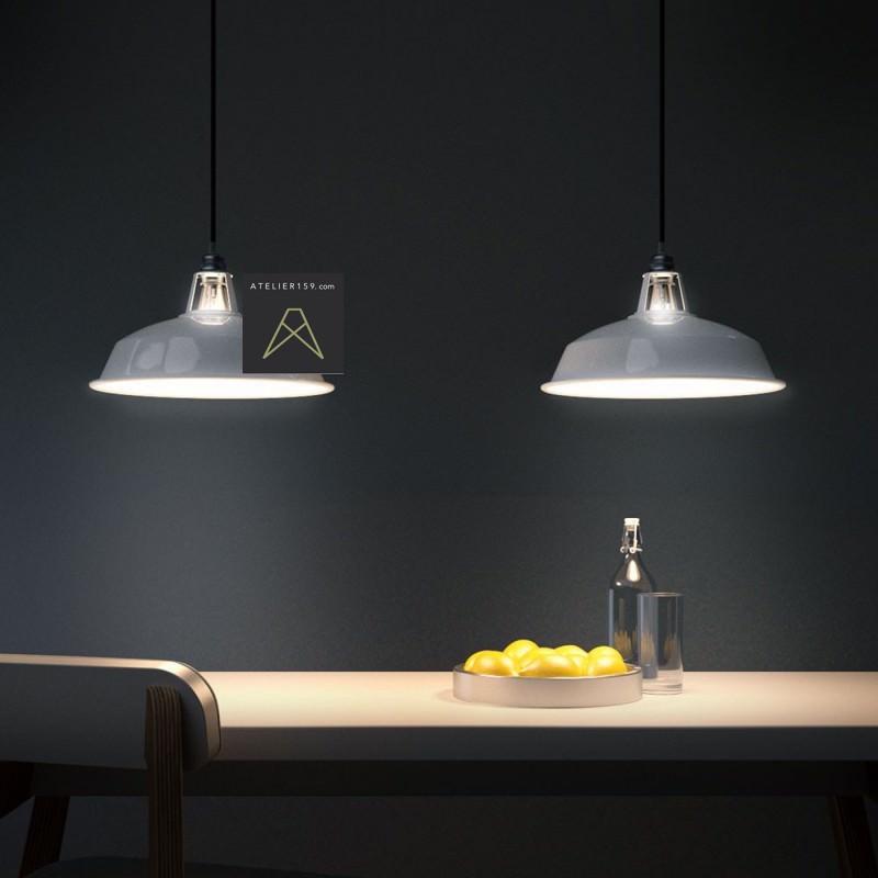 abat jour industriel maill blanc 30cm diam tre atelier 159. Black Bedroom Furniture Sets. Home Design Ideas