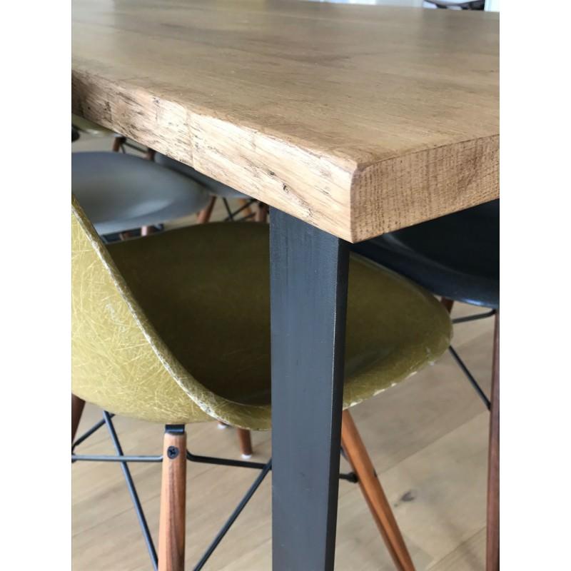 Table Industrielle Metal Chene Massif Brut Ancien Baazic Atelier 159