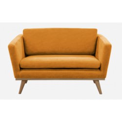 """Canapé 120 50'S """"Love seat"""" coton ocre pieds chêne - Red Edition"""