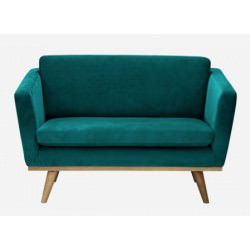 "Canapé 120 50'S ""Love seat"" velours bleu canard - Red Edition"