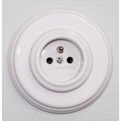 Prise Garby Colonial en porcelaine blanche encastrable - FONTINI