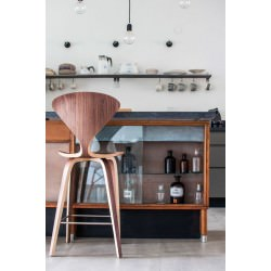 "Tabouret ""Bar Stool"" Norman Cherner (Noyer naturel / Natural Walnut) - Cherner Chair"