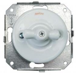 Interrupteur Rotatif Rétro Garby Colonial en porcelaine blanche encastrable - FONTINI