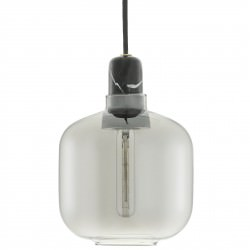 Suspension Amp Small / Ø 14 x H 17 cm - Verre Smoke & marbre noir - Normann Copenhagen