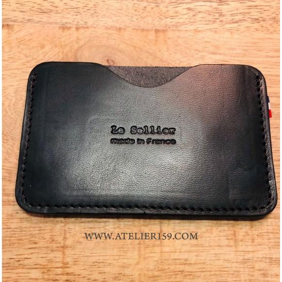 Porte-cartes simple noir - Le Sellier