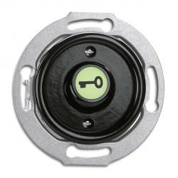 Bouton poussoir symbole ouvre porte en bakelite phosphorescent vendu sans son cache (encastrable) - THPG