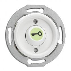 Bouton poussoir symbole ouvre porte en duroplast phosphorescent vendu sans son cache (encastrable) - THPG