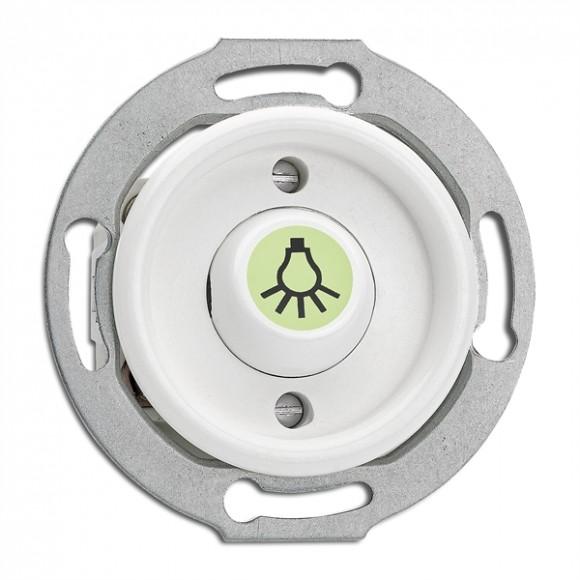 Bouton poussoir symbole lumière en duroplast phosphorescent vendu sans son cache (encastrable) - THPG