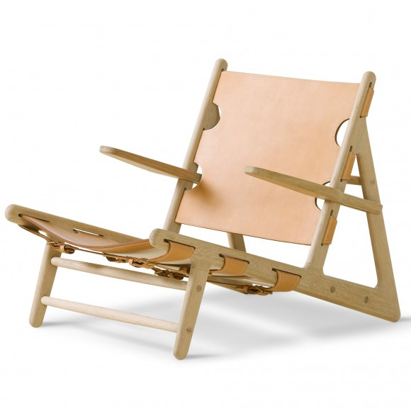 """Fauteuil """"The Hunting Chair"""" Chêne huilé Cuir naturel- Børge Mogensen - Fredericia Furniture"""