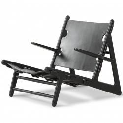 "Fauteuil ""The Hunting Chair"" Chêne noir Cuir noir- Børge Mogensen - Fredericia Furniture"