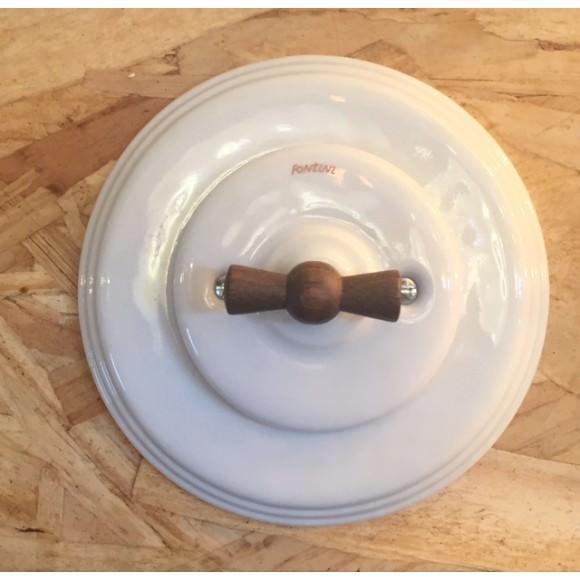 Interrupteur Rotatif Bois Garby Colonial en porcelaine blanche encastrable - FONTINI
