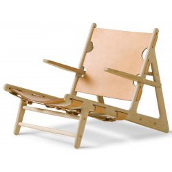"Fauteuil ""Hunting Chair"" Chêne savonné Cuir naturel- Børge Mogensen - Fredericia Furniture"