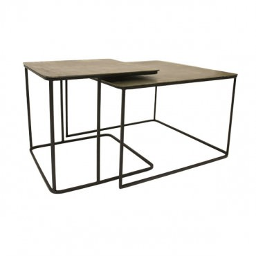 Lot de 2 tables gigognes métal laiton - HK Living
