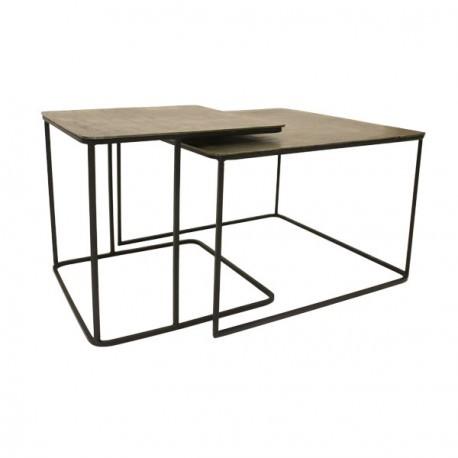 Lot de 2 tables gigognes métal laiton - HK Living