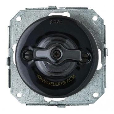 Double interrupteur Rotatif va et vient Garby Colonial en porcelaine noire encastrable - FONTINI