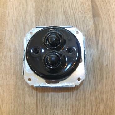 Double Bouton poussoir Garby en porcelaine noire encastrable Ref. 31 343 17 2 - FONTINI