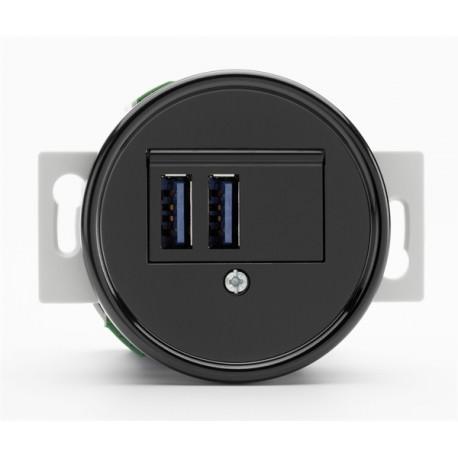 Prise USB double en bakelite ronde vendu sans son cache (encastrable) Ref. 100876 - THPG