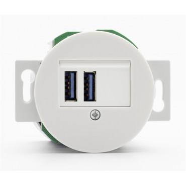Prise USB double en porcelaine ronde vendue sans son cache (encastrable) Réf. 181979 - THPG