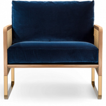 Fauteuil Red Edition CANNAGE - Tissu Velours Bleu Marine