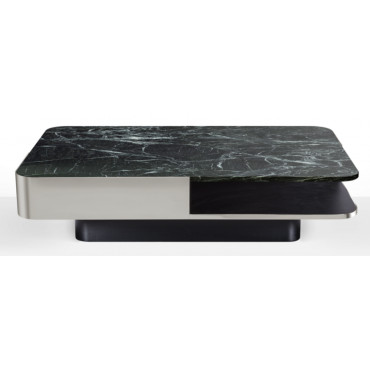 Table basse LOUNGE small inox / verre fumé - Red Edition
