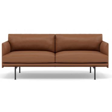 Canapé 2 places OUTLINE pieds noir / cuir REFINE (plusieurs finitions disponibles) - Muuto