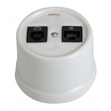 Prise RJ45  + téléphone CAT.6 Garby en porcelaine blanche Externe sans passe câble (pose en saillie) Ref. 30 708 17 5 - FONTINI