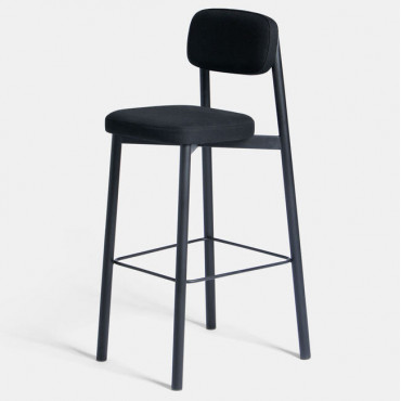 Tabouret RESIDENCE Tissu Noir / Pieds noir (H.65 ou 75 cm) - Kann Design