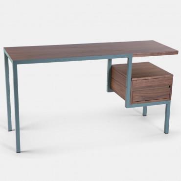 Bureau KTAB structure métal vert fumé / noyer - Kann Design