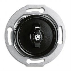 Interrupteur double rotatif Rotary en bakelite rond vendu sans son cache (encastrable) Ref. 186882 - THPG