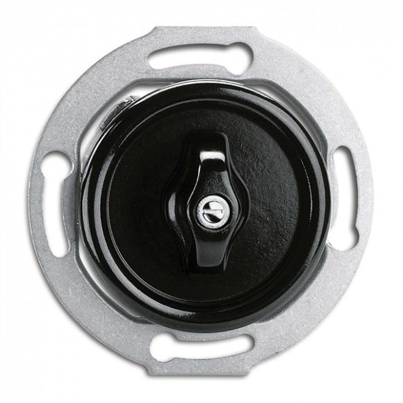 Interrupteur Rotary en bakelite rond vendu sans son cache (encastrable) - THPG