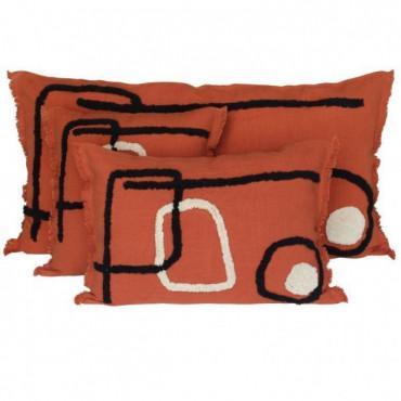 Coussin en lin TIKRI 45 x 45cm Ivoire - Harmony Textiles