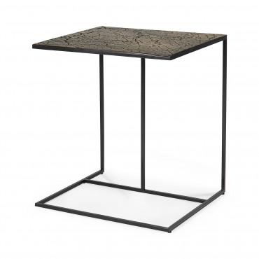 Table d'appoint TRIPTIC pieds métal noir / plateau lava whisky - Ethnicraft