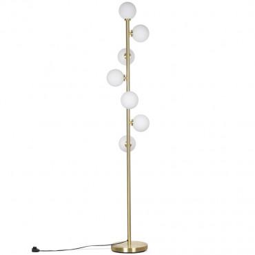 Lampadaire rétro en métal doré 7 globes opalin