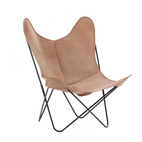 Fauteuil indoor AA Butterfly Cuir Lodge / Structure noire - AIRBORNE