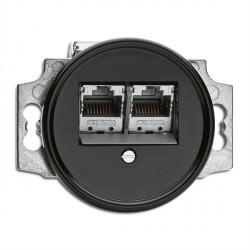 Prise RJ45 double en bakelite ronde vendu sans son cache (encastrable) - THPG